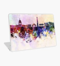 Washington DC skyline in watercolor background  Laptop Skin