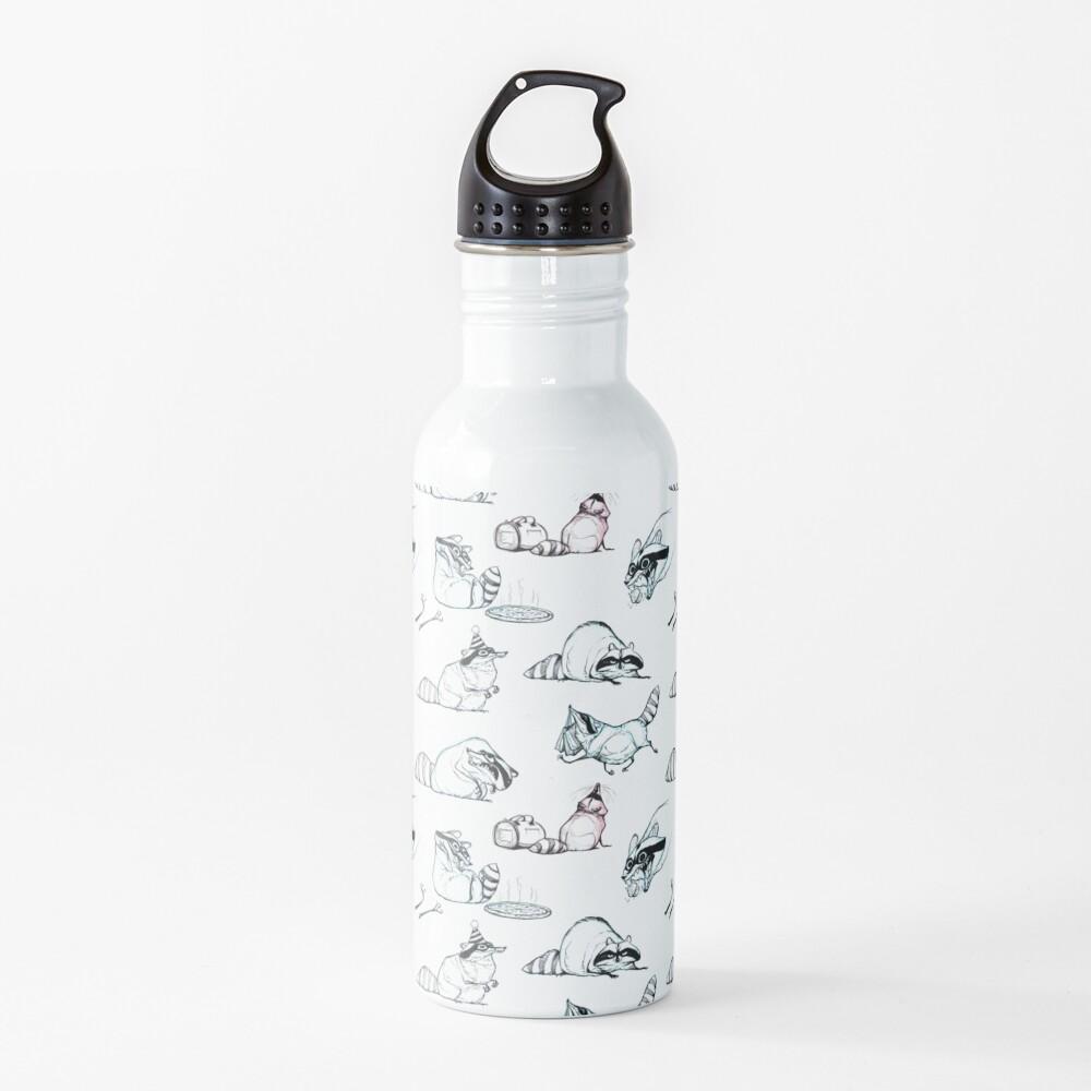 Raccoon Comic Pattern Water Bottle