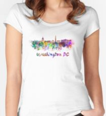Washington DC skyline in watercolor Women's Fitted Scoop T-Shirt