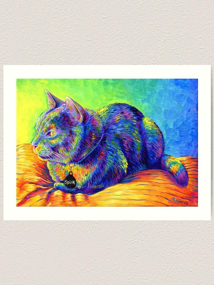Alternate view of Psychedelic Spirit Rainbow Cat Art Print