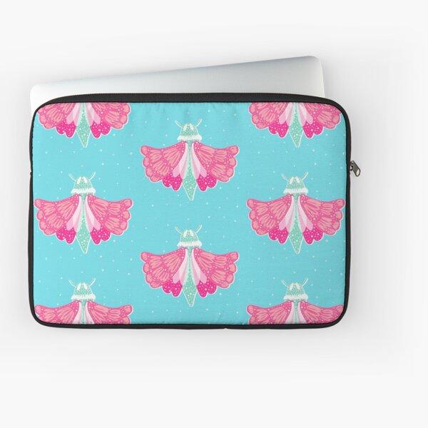 Adorable pink and aqua teal moth Laptop Sleeve