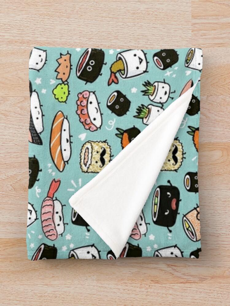 Alternate view of Cute Sushi Pattern | Kawaii Sushi Characters Throw Blanket