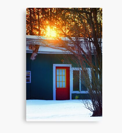 Red Door on Abandoned Apartments Canvas Print
