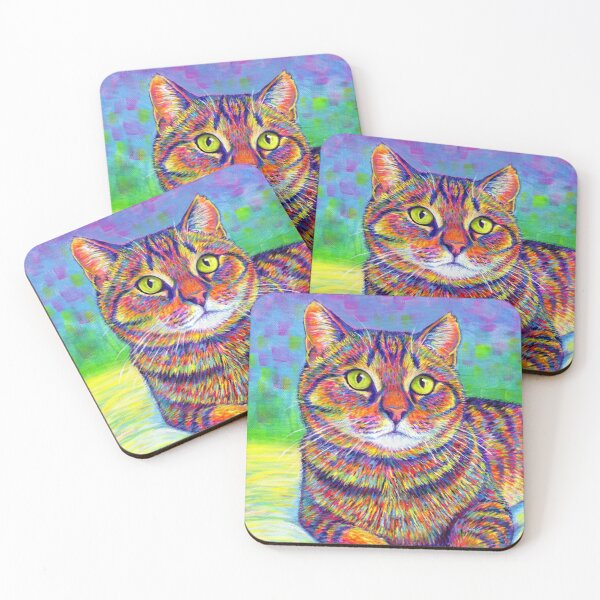 Colorful Rainbow Brown Tabby Cat Coasters (Set of 4)