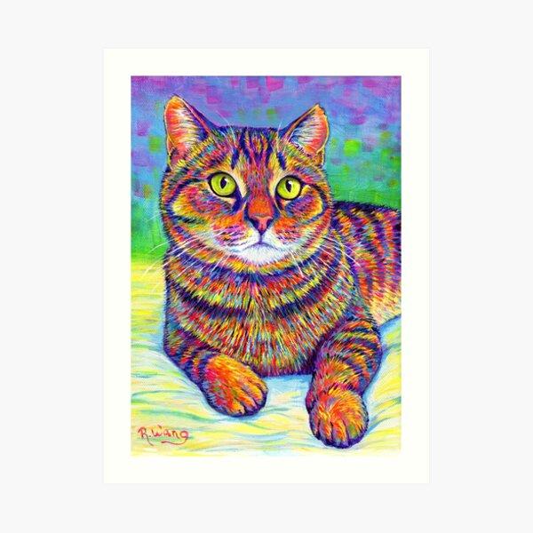 Colorful Rainbow Brown Tabby Cat Art Print