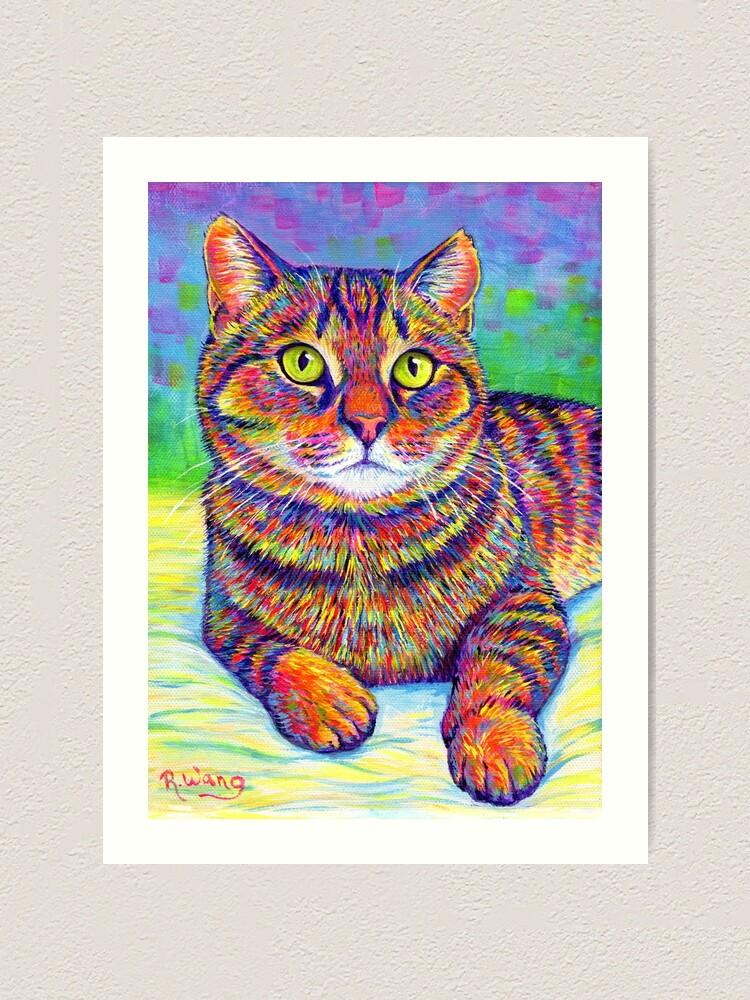 Alternate view of Colorful Rainbow Brown Tabby Cat Art Print