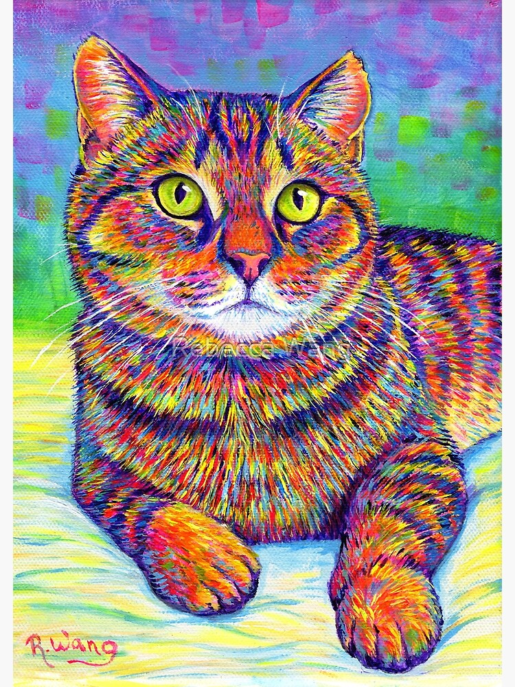 Colorful Rainbow Brown Tabby Cat by lioncrusher