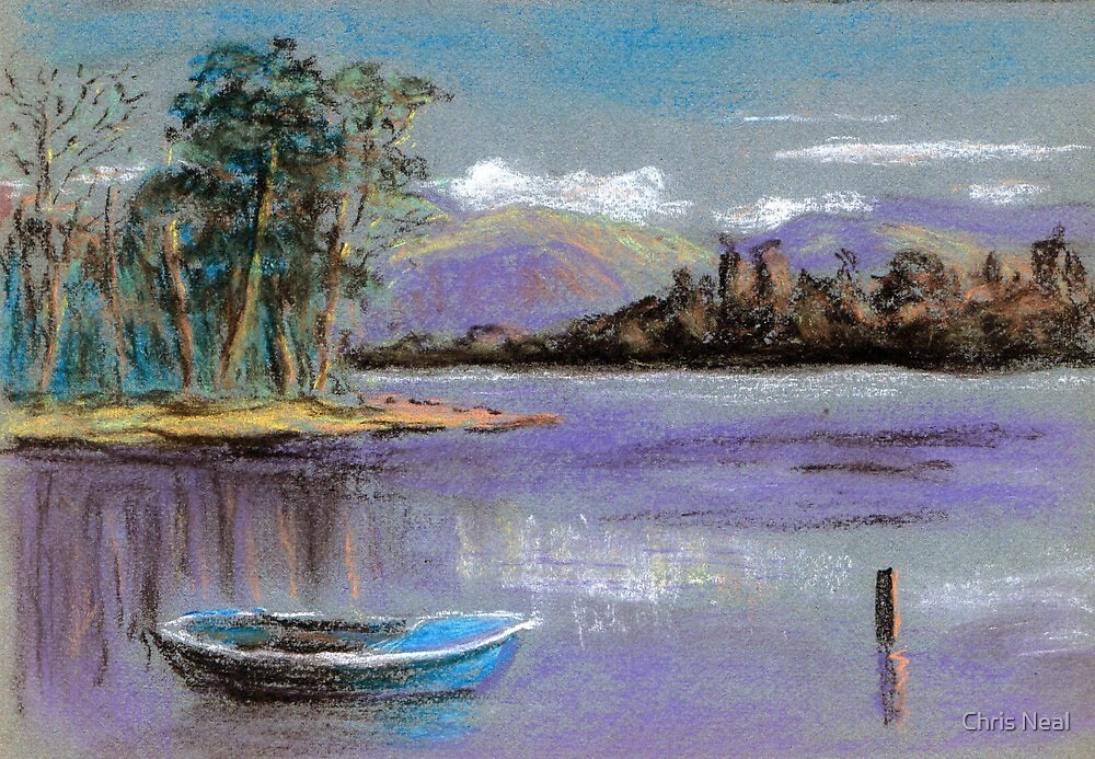 River landscape-pastel sketch by Chris Neal