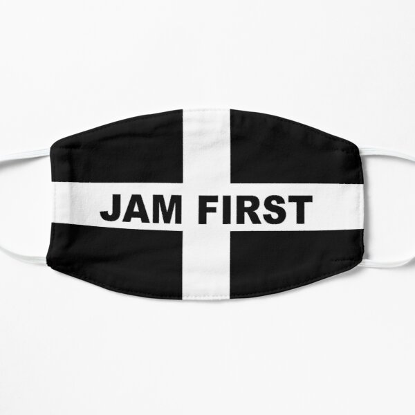 Cornwall Jam First - Kernow Saint Piran's Cornish Flag T-Shirt, Poster, Sticker, Print etc Mask