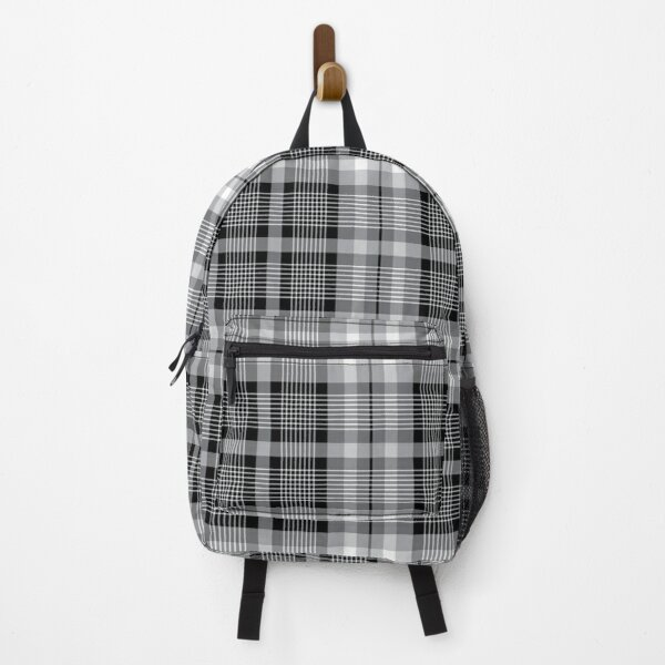 Black , gray and white plaid pattern Backpack