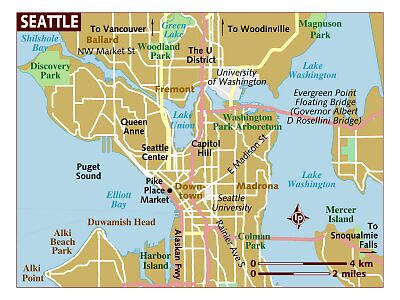 Map of Seattle Washington by Sarah Slapper
