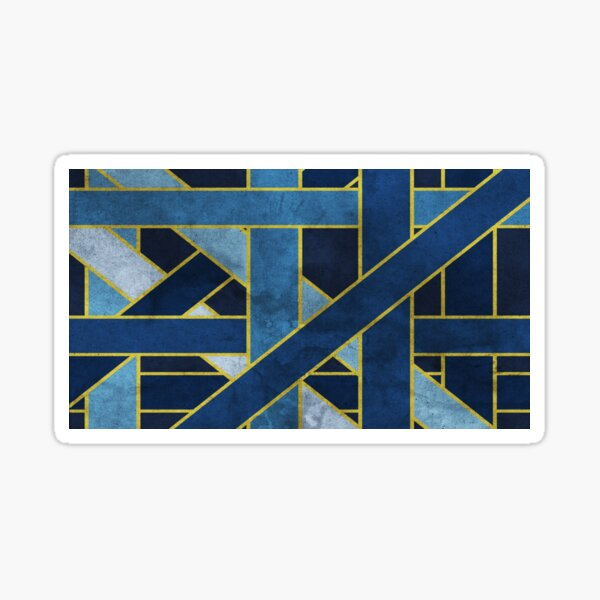 Abstract Geometric Blue and Gold Line Art Sticker
