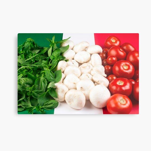 Italian food flag basil mushroom tomato Metal Print