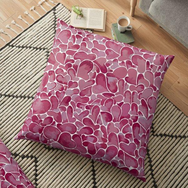 Pink Watercolour Hearts Floor Pillow