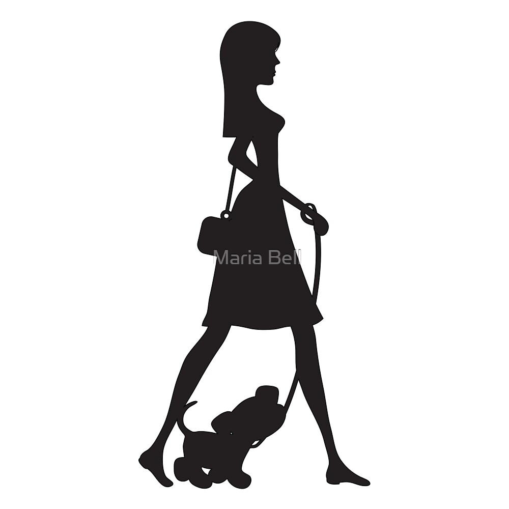 Lady Walking Puppy Silhouette by Maria Bell