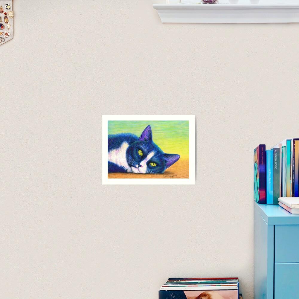 Colorful Tuxedo Cat Art Print