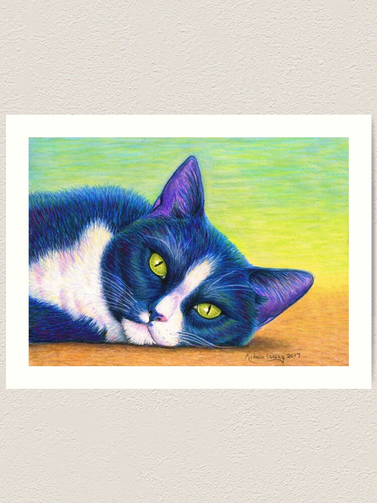 Alternate view of Colorful Tuxedo Cat Art Print