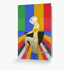 Vintage popart pinup showgirl dancer with pattern Greeting Card