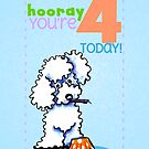 Kids Birthday Age 4 Poodle Card by offleashart