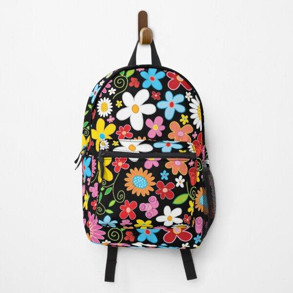 Whimsical Spring Flower Power Garden Square Backpack