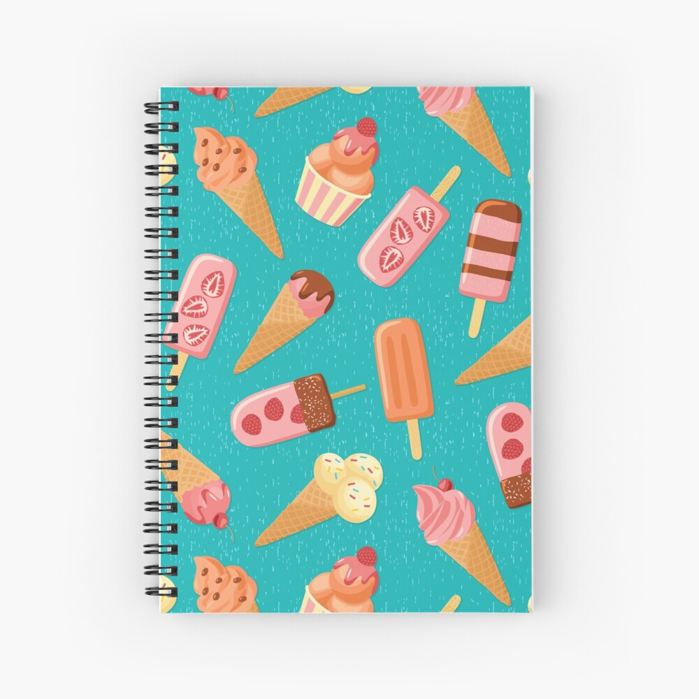 Fruit Ice Cream on turquoise Spiral Notebook