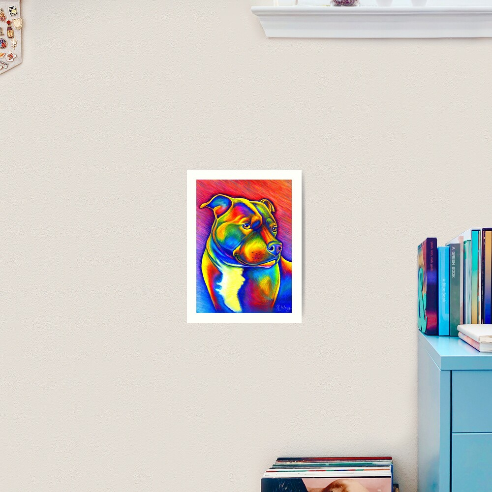 Psychedelic Rainbow Staffie Art Print