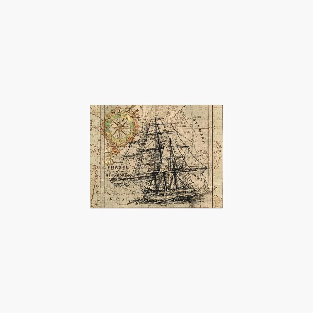 vintage pirate ship sailor antique world map  Jigsaw Puzzle