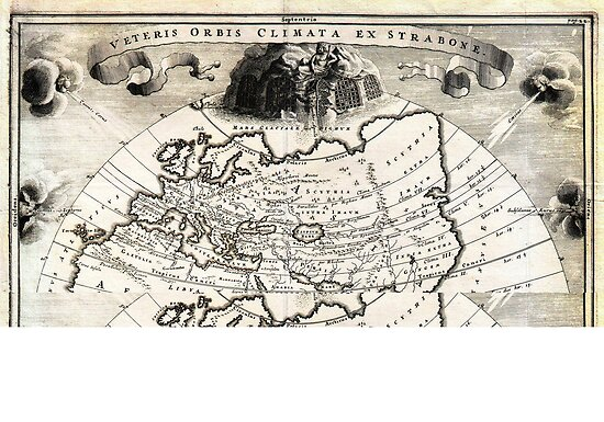 1700 Cellarius Map of Asia Europe and Africa according to Strabo Geographicus OrbisClimata cellarius1700 by MotionAge Media