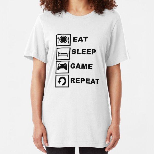 Eat, Sleep, Game, Repeat. Slim Fit T-Shirt