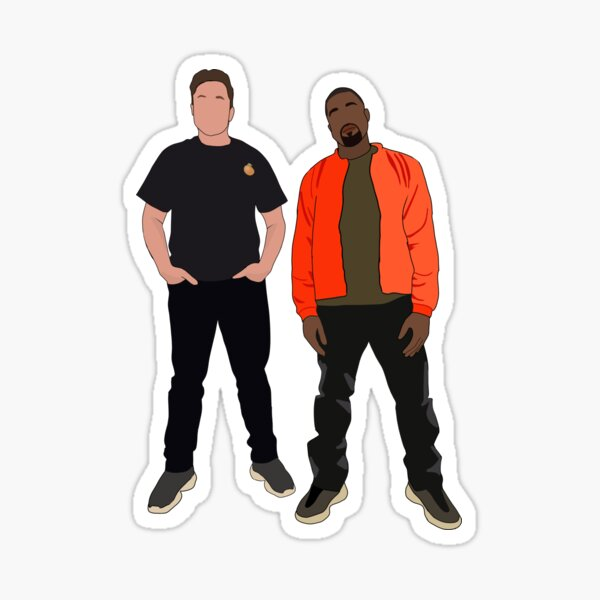 Kanye West and Elon Musk / Elon Musk with Kanye West Sticker
