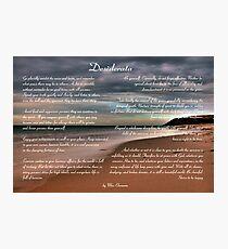 Desiderata Inspirational Poem on Seashore Photographic Print