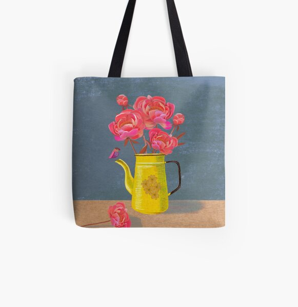 Yellow kettle filled with love All Over Print Tote Bag