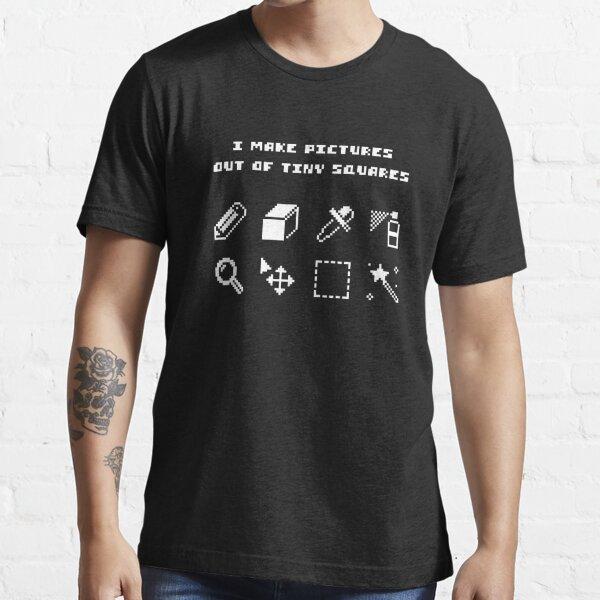 Tiny Squares (white text) - Pixel Art Essential T-Shirt