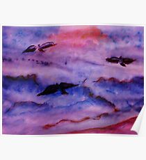 Seagulls fight the waves for fish, watercolor Poster
