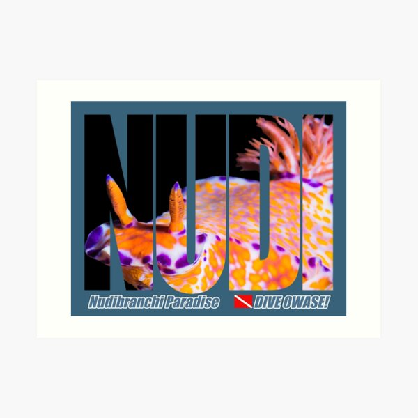 Colorful Nudibranch Text-mask prints Art Print