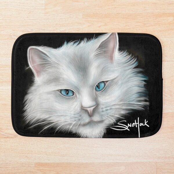 White Kitty Cat with Blue Eyes Bath Mat