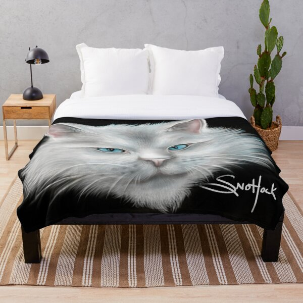 White Kitty Cat with Blue Eyes Throw Blanket