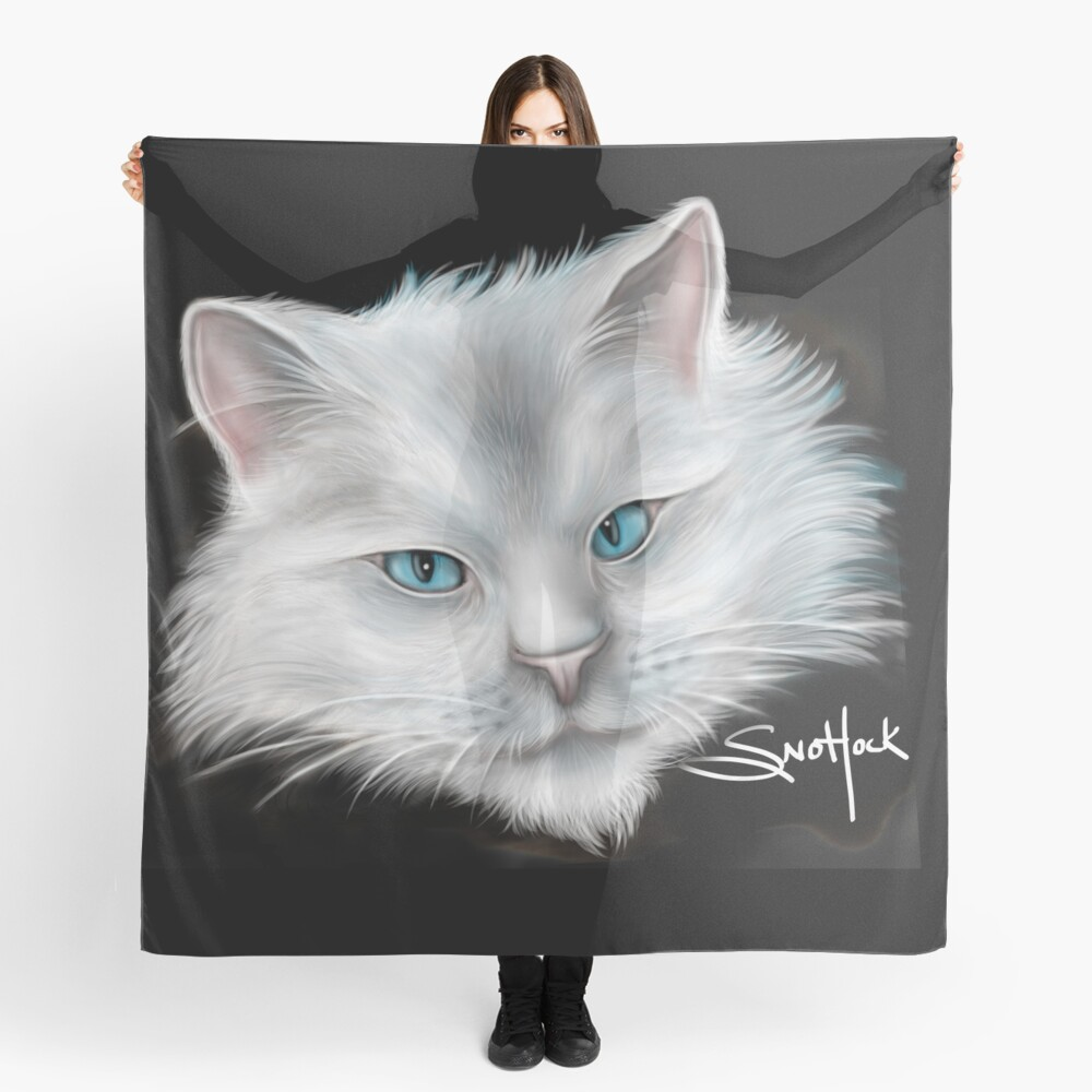 White Kitty Cat with Blue Eyes Scarf