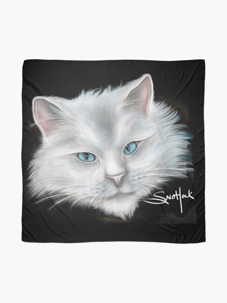 Alternate view of White Kitty Cat with Blue Eyes Scarf