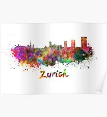 Zurich skyline in watercolor Poster