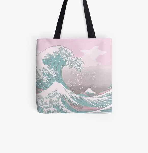 Pastel The Great Wave off Kanagawa All Over Print Tote Bag
