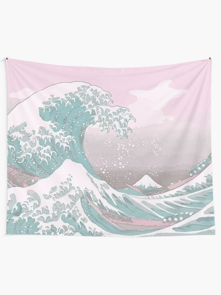 Alternate view of Pastel The Great Wave off Kanagawa Tapestry