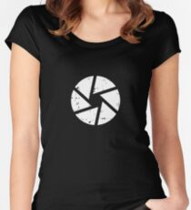 Iris Logo, White Women's Fitted Scoop T-Shirt
