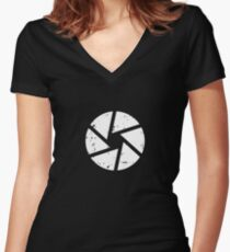 Iris Logo, White Women's Fitted V-Neck T-Shirt