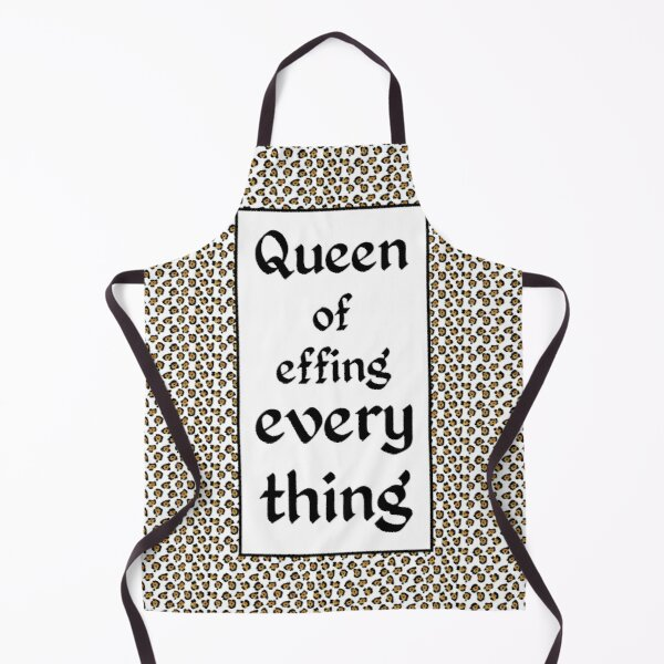 leopard print & Social Isolation Status Statement - Queen of effing everything Apron