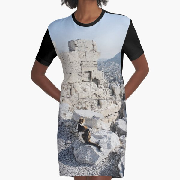 Stray cat checking out the archaeology of ancient Greece at the Acropolis Graphic T-Shirt Dress