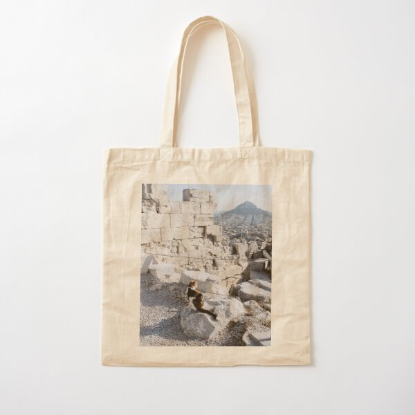 Stray cat checking out the archaeology of ancient Greece at the Acropolis Cotton Tote Bag