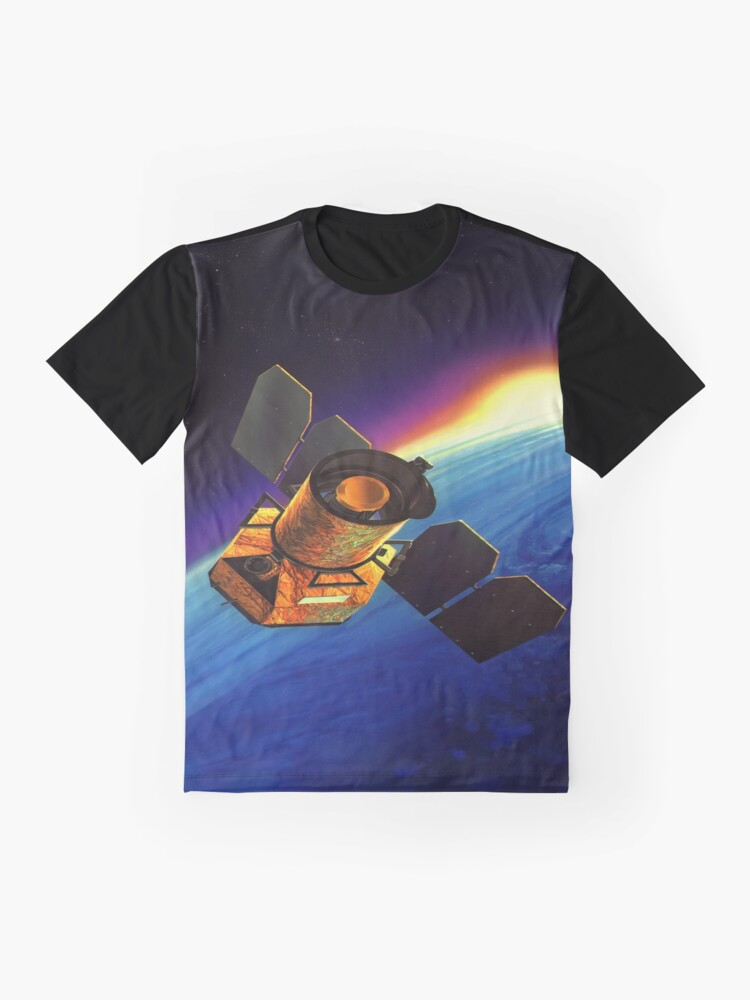 Alternate view of Galaxy Space Satellite Sunset Graphic T-Shirt