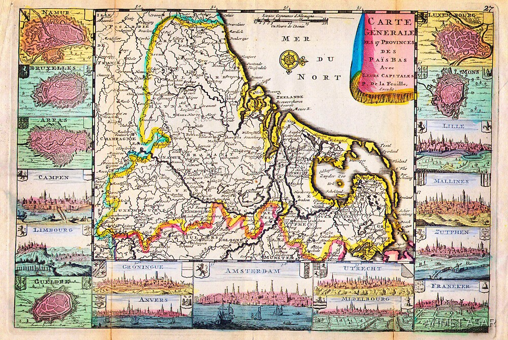 1710 De La Feuille Map of the Netherlands Belgium and Luxembourg Geographicus 17Provinces laveuille 1710 by MotionAge Media