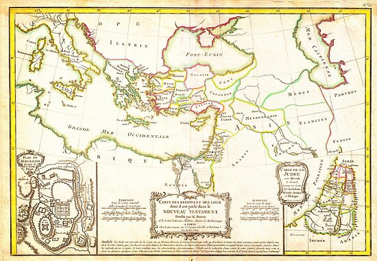 1771 Bonne Map of the New Testament Lands w Holy Land and Jerusalem Geographicus NewTestament bonne 1771 by MotionAge Media